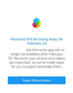 Moments app notification